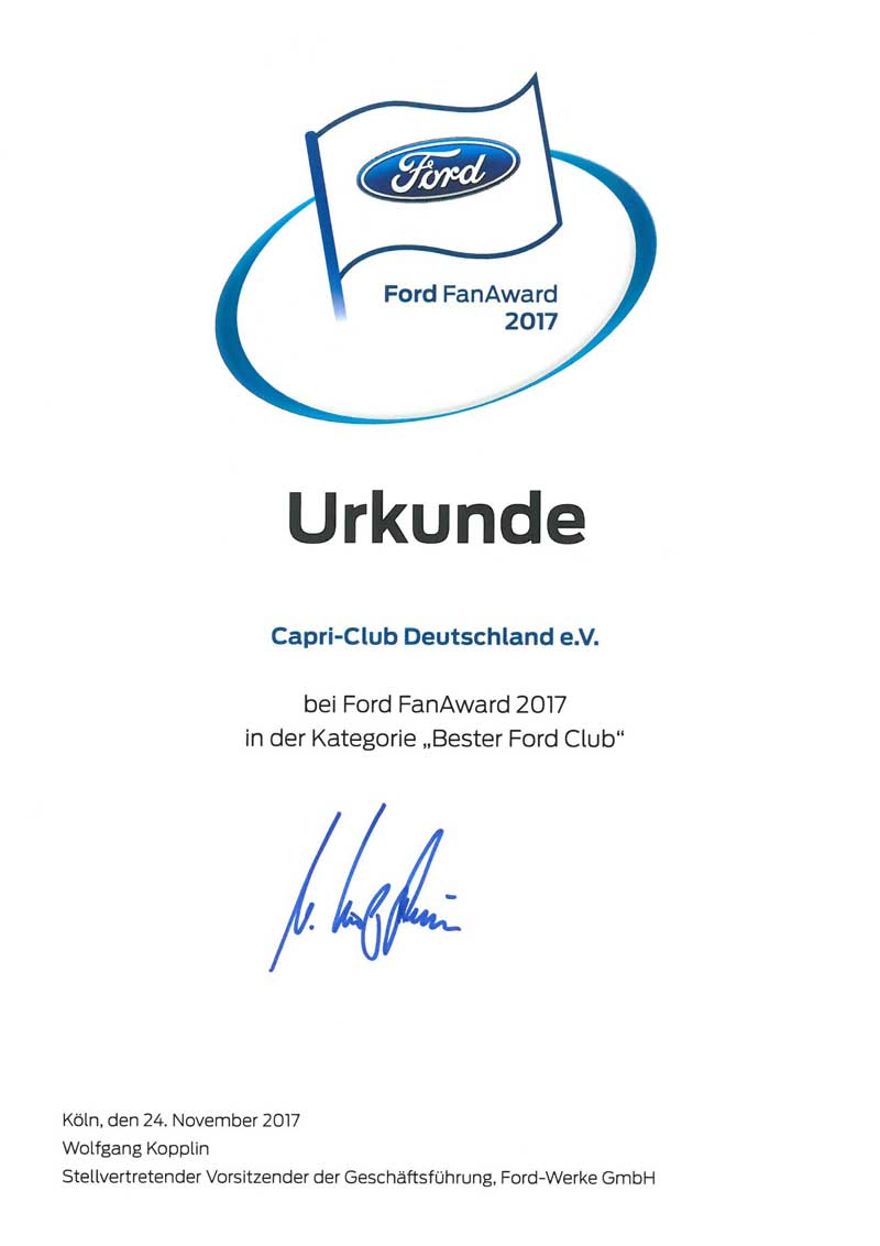 Ford FanAward 2017 Urkunde